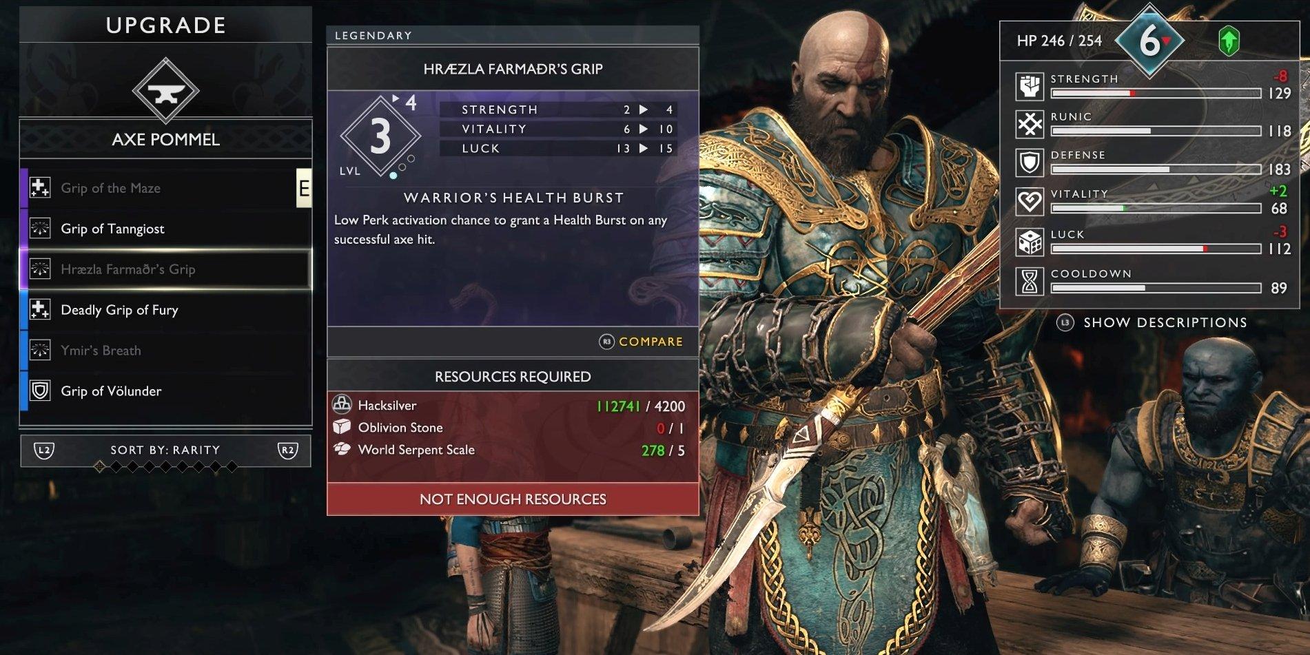 God Of War Stats How Luck Cooldown Defense Etc Work
