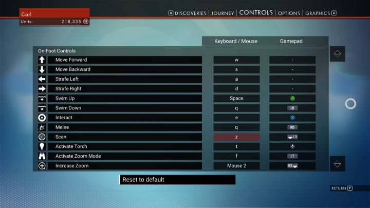 No Man's Sky Controls for PC/PS4/Xbox Controller