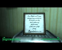 Revelation 21:6, which holds clues to your goal in the main quest of fallout 3