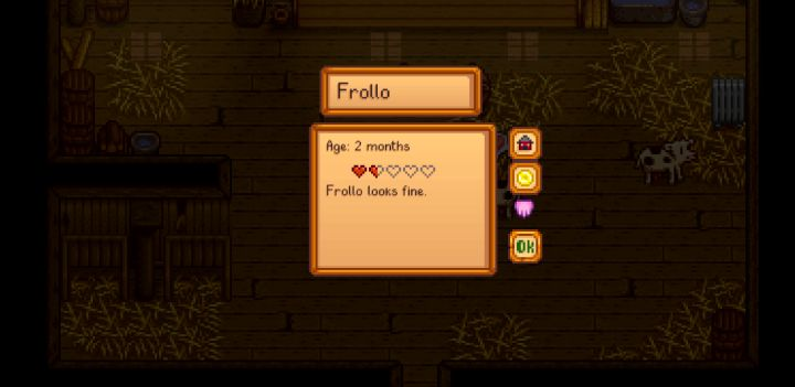 Raising hearts for cows in Stardew Valley