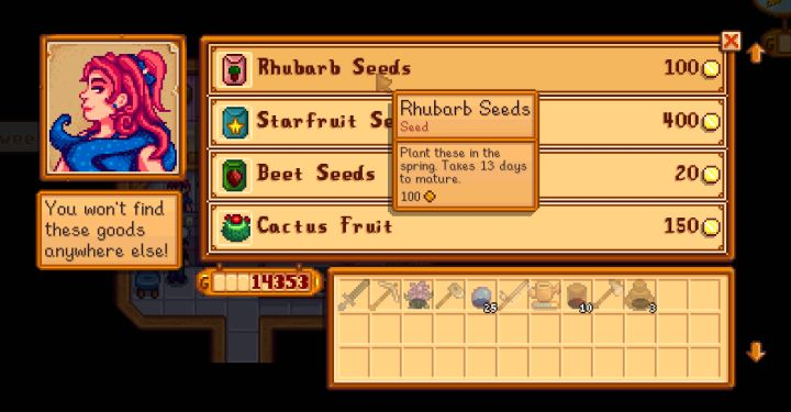 Oasis shop selling seeds at calico desert in Stardew Valley