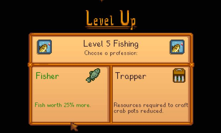 Stardew Valley Fishing Professions choices fisher vs trapper