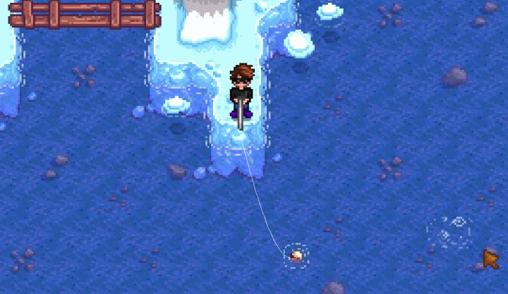 Fishing in the Winter in Stardew Valley