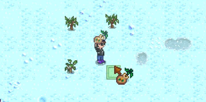 Planting fruit trees to make an orchard in Stardew Valley
